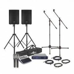 "800W 15"" Active PA System with Mic and Stands Hire"