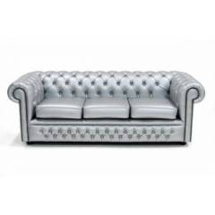 Three Seater Chesterfield - Silver