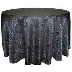 Circular Banqueting Tablecloth Hire - Black Damask