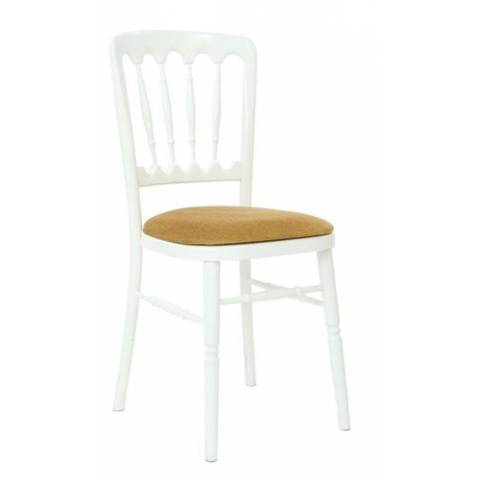 Wooden Banqueting Chair in White and Gold