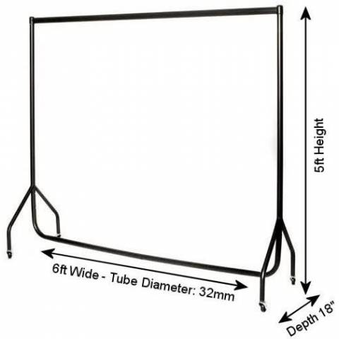 6ft Heavy Duty Clothes Rail with 50 Wooden Coat Hangers