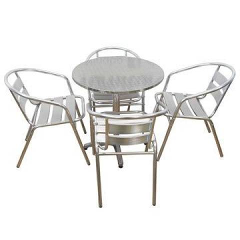 Aluminium Outdoor Chair x 4 & Table Combo