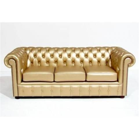 Three Seater Chesterfield - Gold
