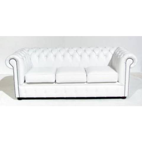 Three Seater Chesterfield - White
