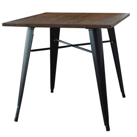 Tolix Style Table - Wooden Top