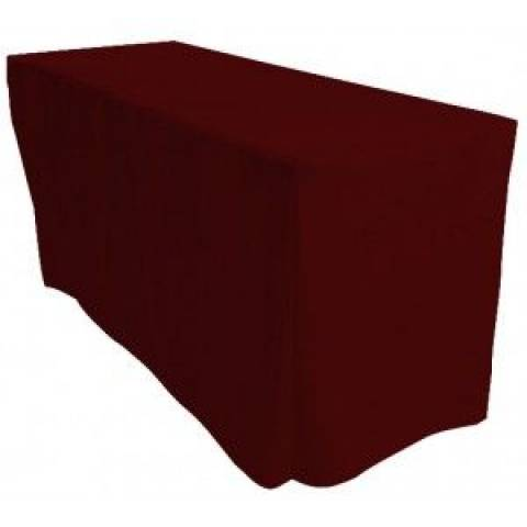 6' Fitted Banqueting Tablecloth - Burgundy