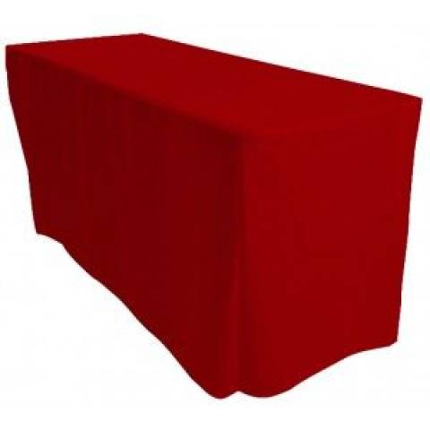 6' Fitted Banqueting Tablecloth - Red